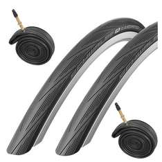 Schwalbe Lugano 700c x 23 Road Racing Bike Tyres (Pair) & Presta Inner Tubes - Black ONLY £19.99 @ Sold & Dispatched by SDJ Sports Ltd