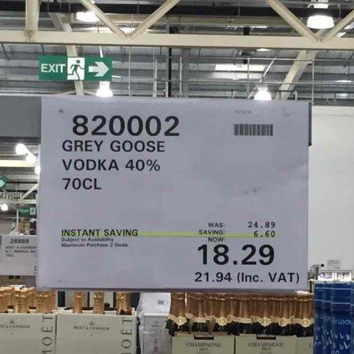 Grey Goose vodka 70cl at Costco - £21.94