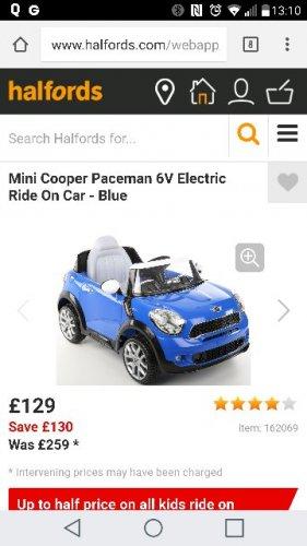 Kids Electric Car Mini Cooper Half price £129 @ Halfords