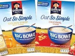 Quaker Oat So Simple Big Bowl - Golden Syrup & Original - £1 @ Asda