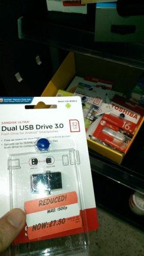 SanDisk dual usb flash 16g or 32g asda £5 or £7.50 @ Asda - Warrington