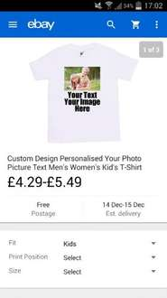 Design your own T Shirt. Ebay. Kids, mens and womans - £4.29 justpersonalise / Ebay