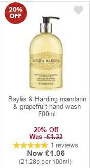 Baylis & Harding hand wash 500ml for £1.06 @ Waitrose with MyPicks