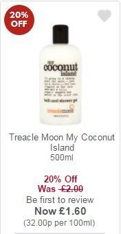 Treacle Moon My Coconut Island Bath & Shower 500ml £1.60 @ Waitrose with MyPicks