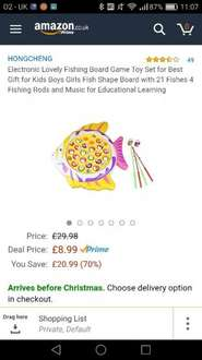 Electronic Lovely Fishing Board Game Toy Set £8.99 prime / £13.74 non prime Sold by Fun Mall and Fulfilled by Amazon