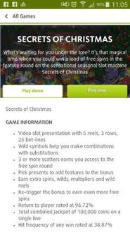 10 free spins on Secrets Of Christmas video slots @ lottoland