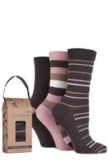 LADIES GIFT BOXED BAMBOO AND FEATHER STRIPED SOCKS @ Sock Shop online - 2 packs for £10.48 delivered (with code)