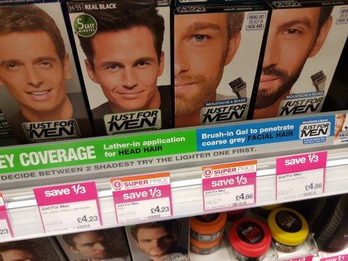 Just For Men hair colouring.  Only £4.23 at Superdrug instore