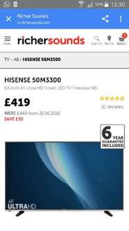 Hisense 50 inch m3300 4k hd smart led freeview tv £419 @ richersounds free delivery