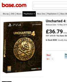 Uncharted 4: A Thiefs End - Special Edition (PS4) £36.79 @ base