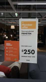 Ikea 3 seat sofa bed for £250 (Ikea Family Card). Delivery £25.