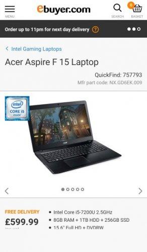 Acer Aspire F 15 Laptop - Laptops at ebuyer £599.99