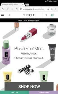 Five Free Deluxe Minis, Free Delivery with ANY Order at Clinique 12/12/16 Only!