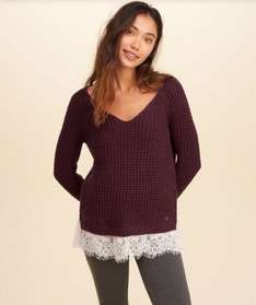 Hollister ladies lace hem jumper - £21 free delivery all sizes available in Burgandy and cream. Various colours with different sizes @ Hollister