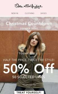 miss selfridge one day only 50% off 50 things