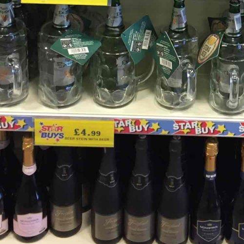 Glass Stein with 1 Pint Bottle of Beer (Carlsberg Export) -Good Secret Santa Gift £4.99 @ Quality save