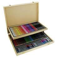 Wooden Stationery Set With Case - 75 Pieces - Now £7.50 (with code ) & Possible  23.1%  Cashback  Free C&C @ The Works