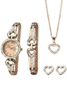 SEKONDALADIES ROSE GOLD PLATED OPEN HEART STONE SET CHRISTMAS GIFT SET 2363G 66.49 with code free delivery @thejewelhut