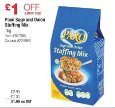 Paxo Sage and Onion stuffing 1kg £1.99 @costco