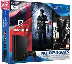 TODAY ONLY 5% off PlayStation 4 bundles @ Currys - cheap 500GB incl COD Infinite Duty / Battlefield etc for £218.49 or 1TB + 3 Games for for £265.99 (Uncharted 4 + Driveclub + The Last of Us: Remastered) *CORRECTION* - See more (+TCB & Quidco)