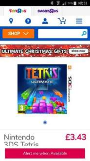 Nintendo 3DS Tetris Ultimate at Toys R Us for £3.43