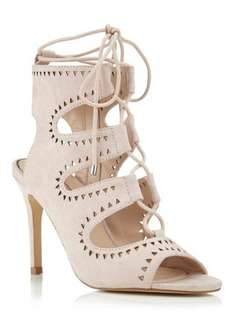 miss selfridge cut out sandals in beige or red. £5 (was £45)