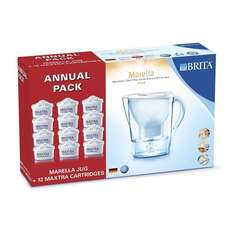BRITA Marella Jug+12 Cartridges - White, Annual Pack £31.99 @Amazon