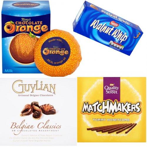 Tesco - Terry's Chocolate Orange Milk Chocolate £1, Guylian Belgian Classics 430g £3.50, Walnut Whips Vanilla 3 Pack 98g £1, Quality Street Matchmakers £1
