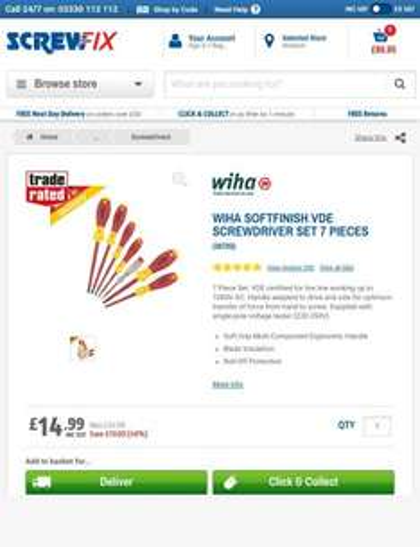 Wiha SoftFinish VDE Screwdriver Set 7 Pieces £14.99@  | Screwdrivers | Screwfix.com