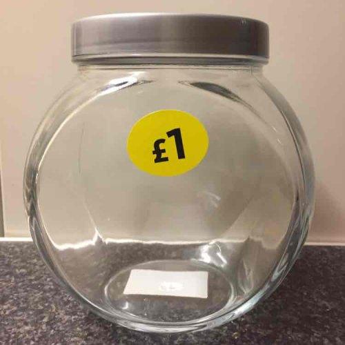 Glass biscuit jars £1 at Morrisons.
