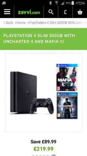 PLAYSTATION 4 SLIM 500GB WITH UNCHARTED 4 AND MAFIA III £219.99 @ Zavvi