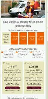 Money off vouchers for your first 5 shops at Sainsburys online. Upto £60 worth of vouchers.