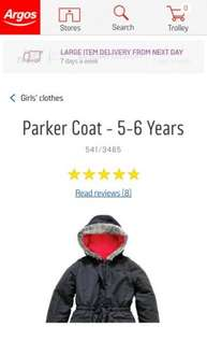 Girls Black Parker Coat £7.99 Argos