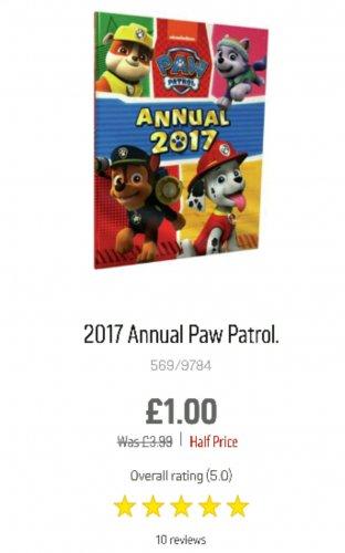 Paw Patrol 2017 annual £1 in Argos