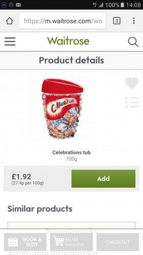 Celebrations Tub 700g £1.92@ Waitrose