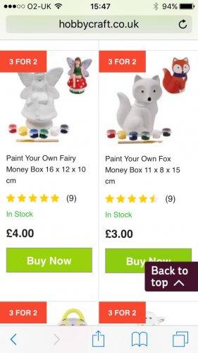 Paint your own moneybox £2 @ Hobbycraft (£1 c&c)