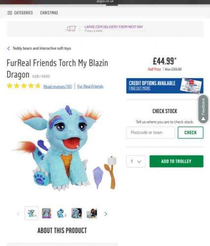 FurReal friends torch my blazin dragon - £44.99 @ Argos