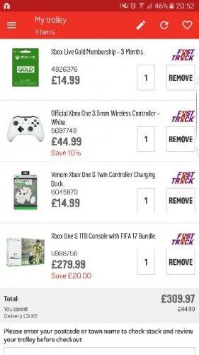 X Box One S Bundle deal £309.97 @ Argos