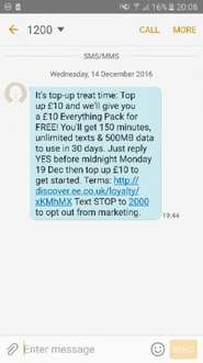 EE free £10 everything pack when you top up £10