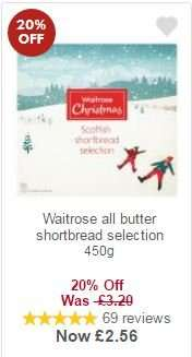 Waitrose all butter shortbread selection 450g for £2.56 with MyPicks