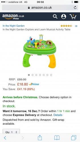 In the night garden activity table £18.80 (Prime) / £23.55 (non Prime) at Amazon