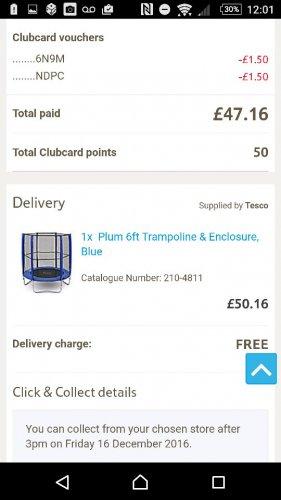 Plum 6ft Trampoline £50!!!! RRP £89.99 @ Tesco