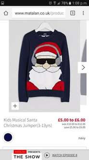 Children's  (3-13) musical Christmas jumpers now £5 Matalan / online instore