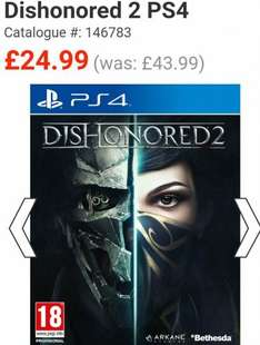 Dishonored 2 PS4/Xbox1 £24.99 in store/online click and collect @ Smyths toys
