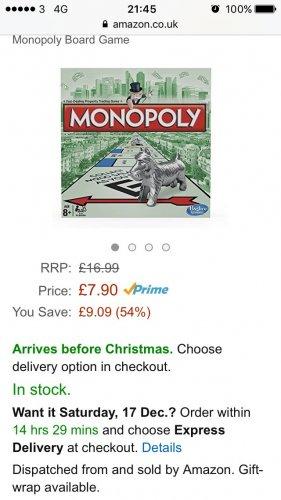 Monopoly original £7.90 (Prime) @ Amazon