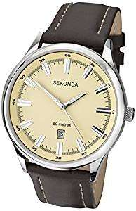 SEKONDA Men's Quartz Watch - Analogue Display - Brown Leather Strap £20.69 @ Amazon