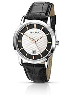Sekonda Men's Quartz Watch - Silver Dial Analogue Display - Black Leather Strap for £12 at Amazon (Prime or add £4.75)