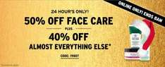 50% off skincare plus 40% off everything else plus free delivery over £5 eg Born lippy lip balms were £2 now £1, Satsuma body mist was £7.50 now £3.75 @ The Body Shop