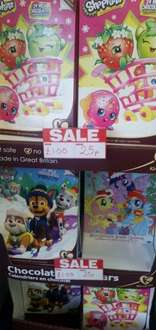 Disney Princess, paw petrol, Teletubbies chocolate calenders  25p in store poundworld.
