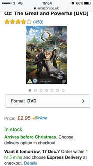 Oz the great and the powerful DVD £2.95 prime / £4.94 non prime Sold by Bartlett's HiFi and Fulfilled by Amazon